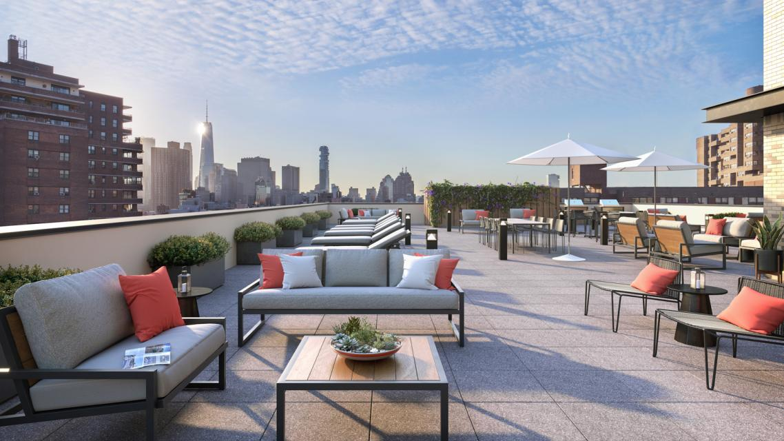 Rooftop Terrace at The Rollins in NYC -Apartments for rent