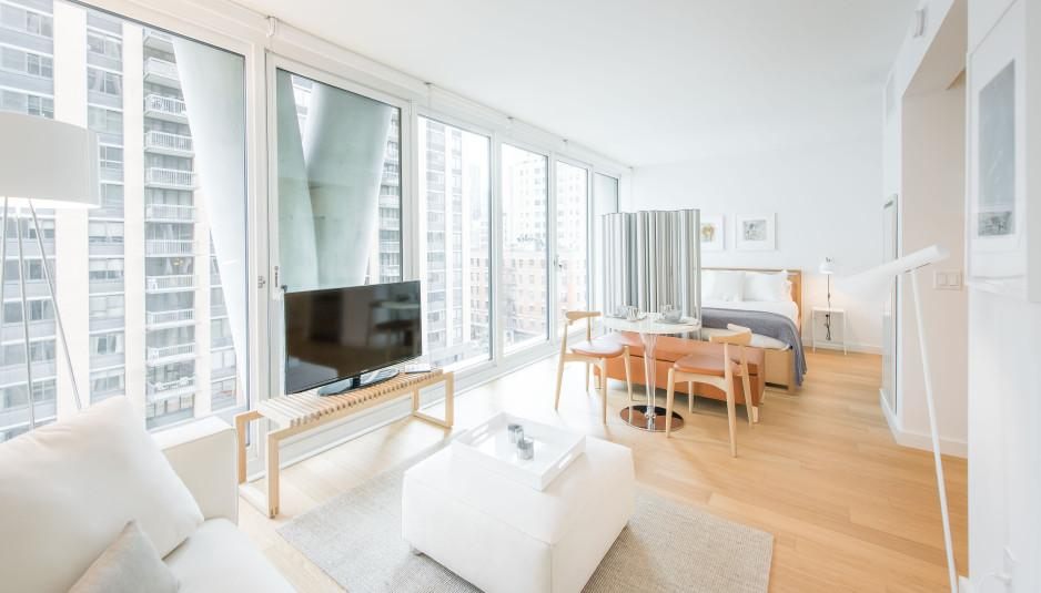 Living area at 170 Amsterdam Avenue in NYC - Condos for rent