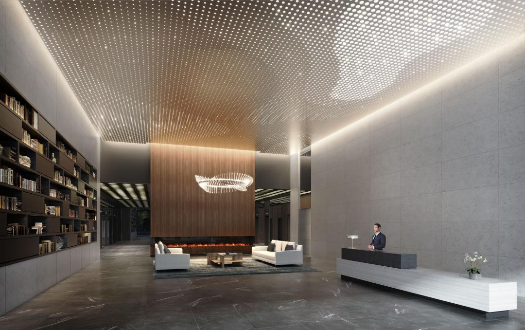 The Building's lobby at 180 Water Street in Manhattan
