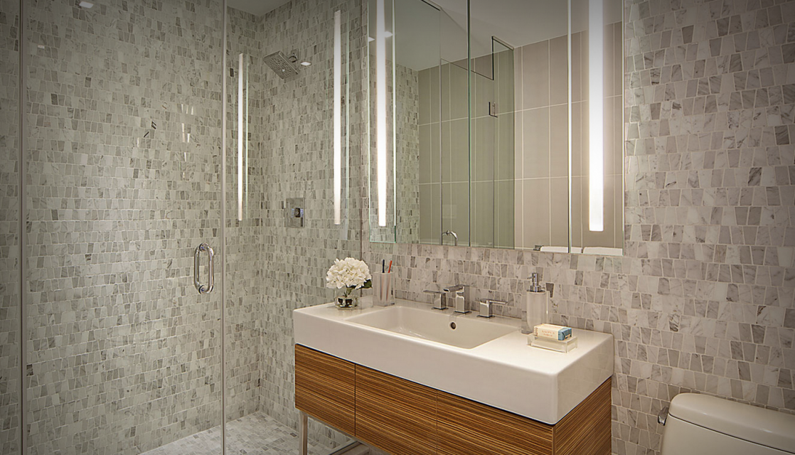 202 8th Street bathroom with glass shower- condo for rent in Park Slope