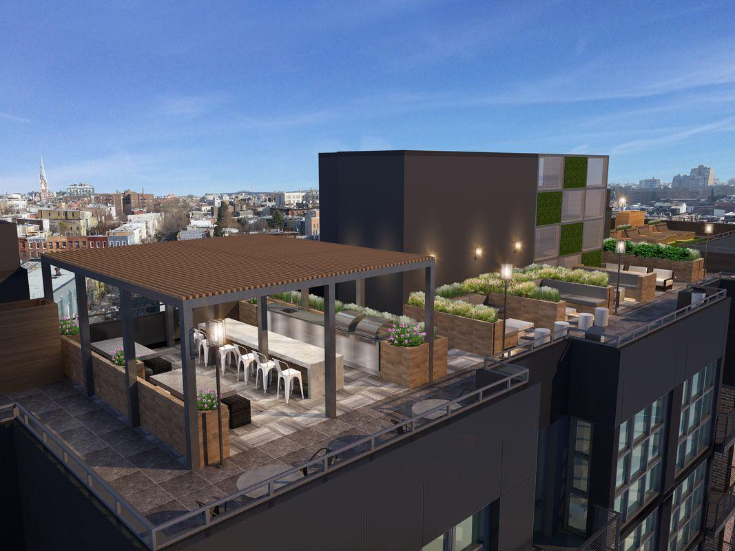 Rooftop deck at 26 West Street - NYC Apartments for rent
