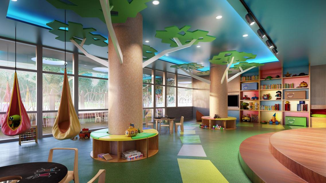 Children's playroom at Level - 2 North 6th Place apartments for rent
