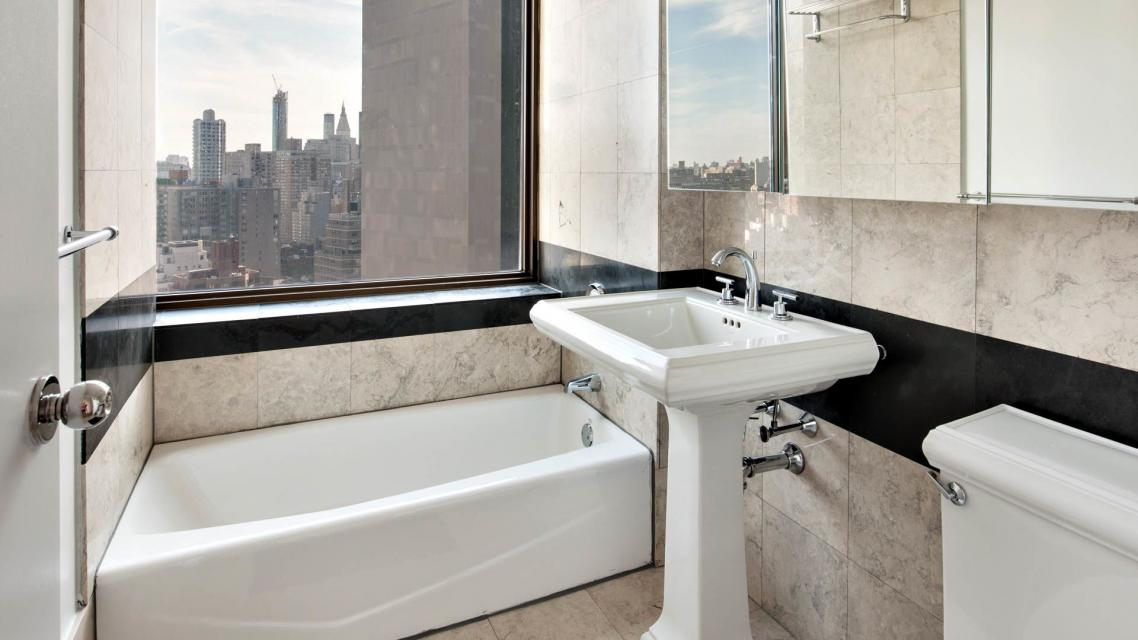 Marble Bathroom of rental apartments at 300 East 39th Street