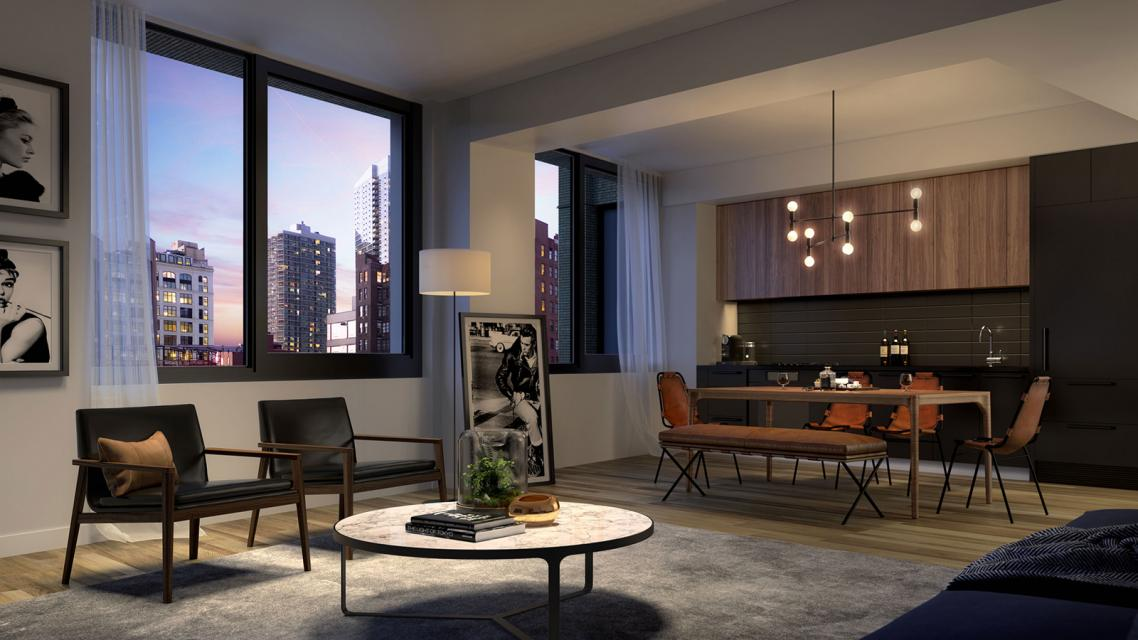 Living Room at 411 West 35th Street in NYC - Apartments for rent