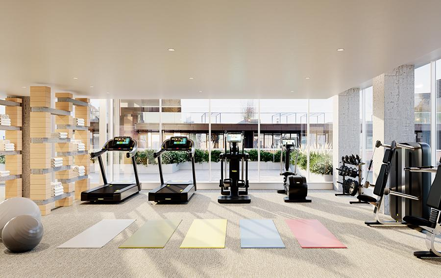The Building's Fitness & Wellness Center at 420 Kent Avenue