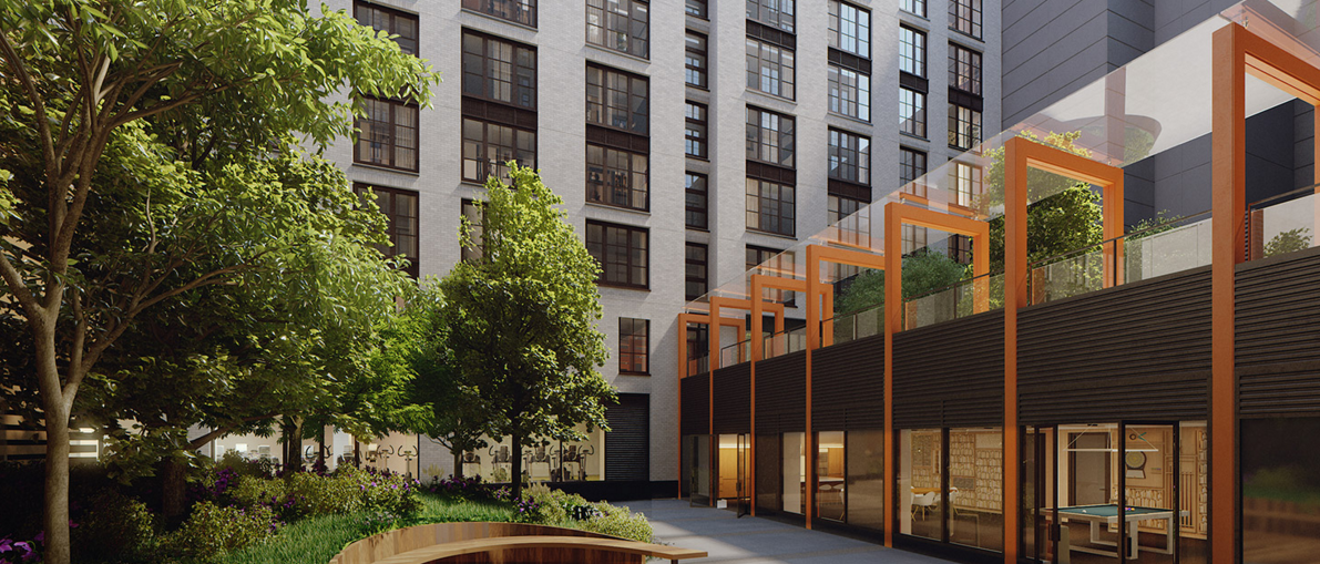 The Building's courtyard at 535 West 43rd Street in NYC