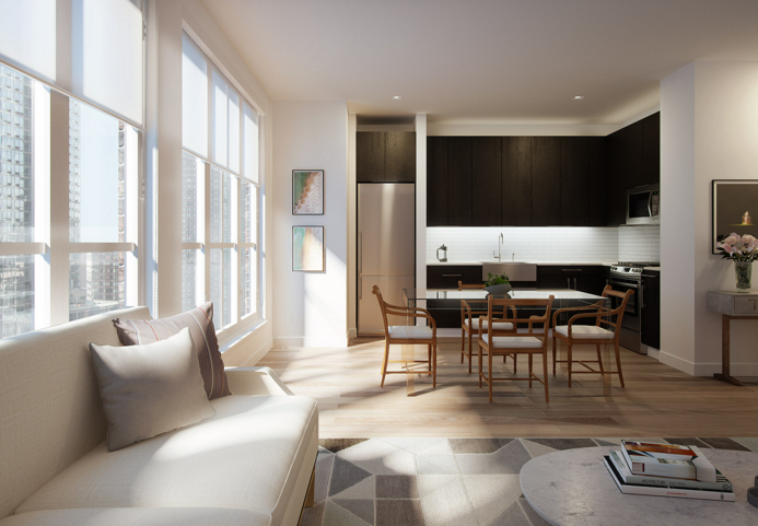 Livingroom at 535 West 43rd Street in Clinton - Condos for rent