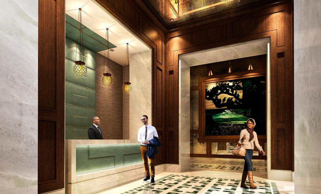 The Building's lobby at 555 Tenth Avenue in Clinton