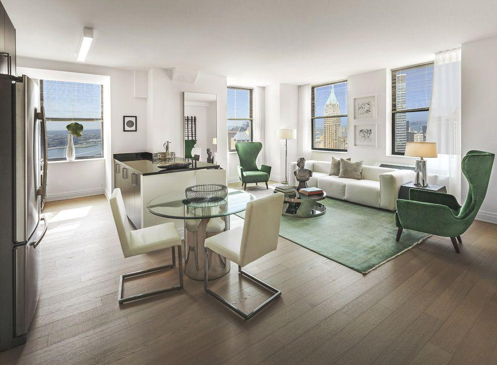 Living and dining room at 70 Pine Street in NYC