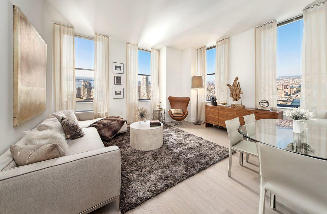 Living room at 70 Pine Street in NYC