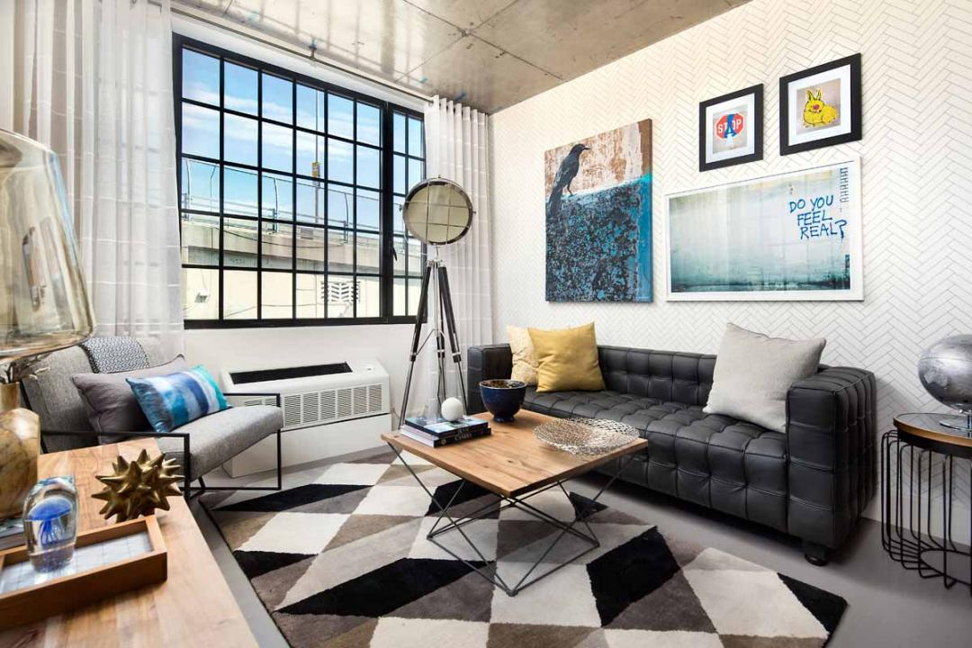 Livingroom at 72 Box Street in NYC - Condos for rent