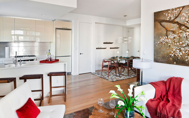 Dining Room and Kitchen of L haus - Long Island City Rental Apartments
