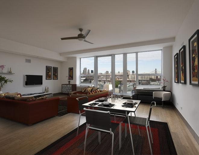 Solarium Living Room - Long Island City Rental Apartments