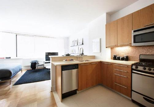 Kitchen at the Ashley 400 West 63rd Street NYC Flats
