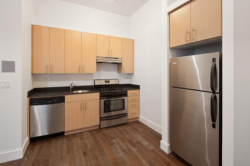 Kitchen of rental apartments at The Constable