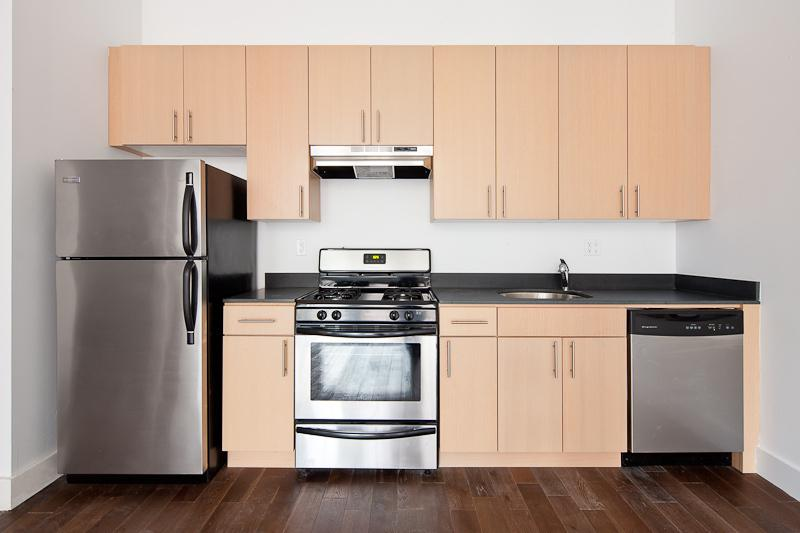 Kitchen of rental apartments at 53 Howard Street