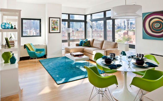 Living and Dining Room at L haus - Long Island City Apartments