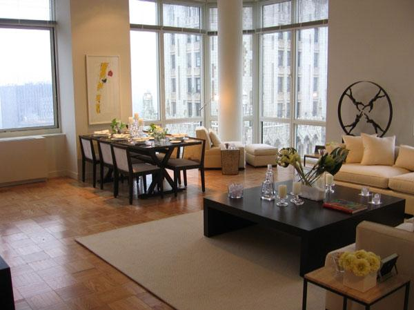 Barclay Tower Living Room - Manhattan Apartments for rent