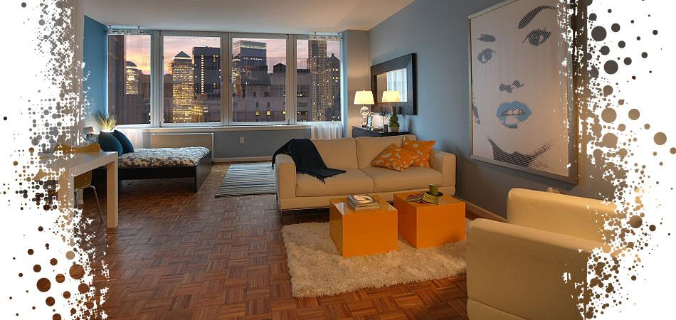 200 Water Street Living Room - Manhattan Apartments for rent