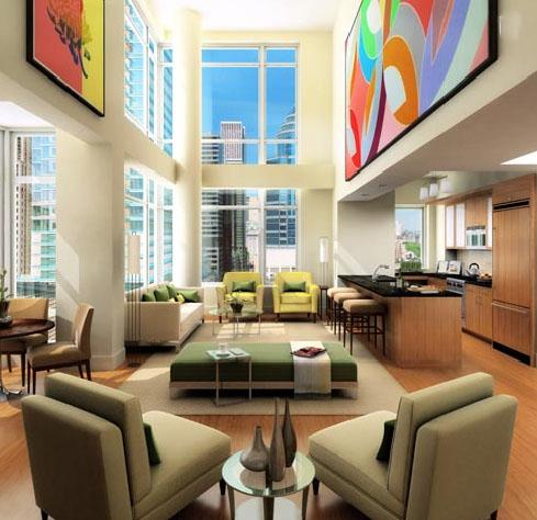 205 East 59th Street  Living Room - NYC Rental Apartments