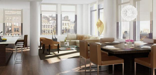 34 Leonard Street Living Room - NYC Rental Apartments