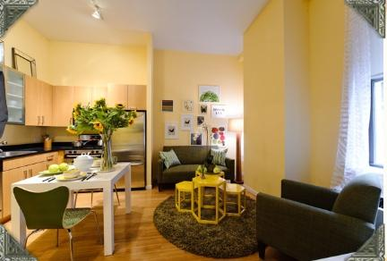 90 West Street Living Area and Kitchen View - Manhattan Rental Apartments