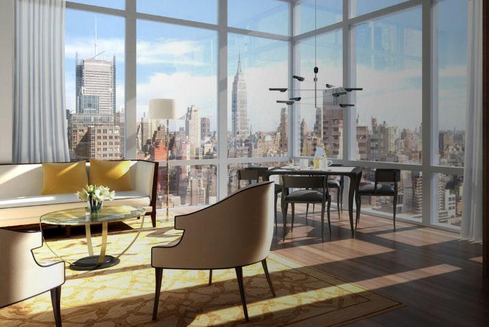 620 West 42nd Street Living Room - NYC Rental Apartments