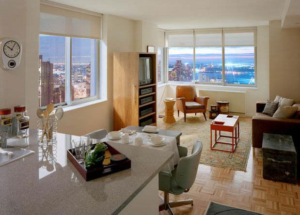 271 West 47th Street Living Room - NYC Rental Apartments