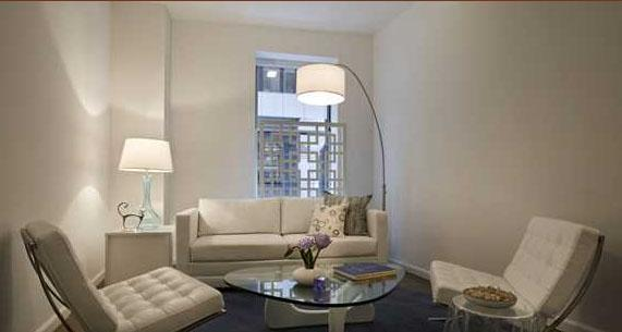 The Crest Living Room - Financial District Apartment Rentals