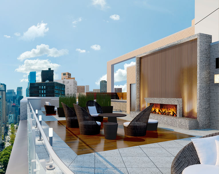 Roof Deck with Fireplace and Misting Area UWS Green Building Open Views