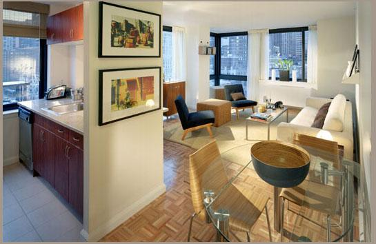 400 West 55th Street Living Area and Kitchen View - Manhattan Rental Apartments