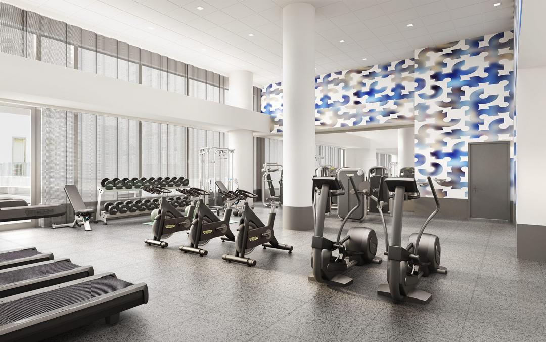Fitness Center inside the building at Aalto 57 in Turtle Bay