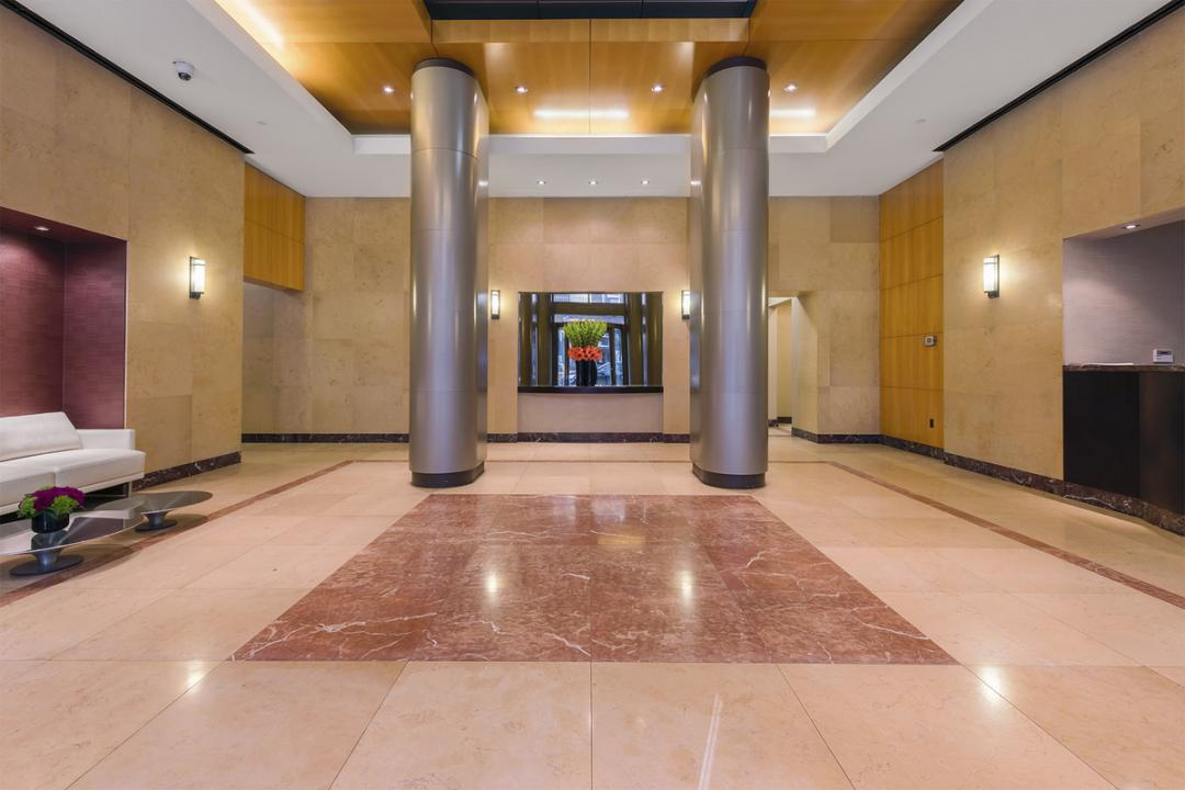 The Building's lobby at 100 West 26th Street in NYC