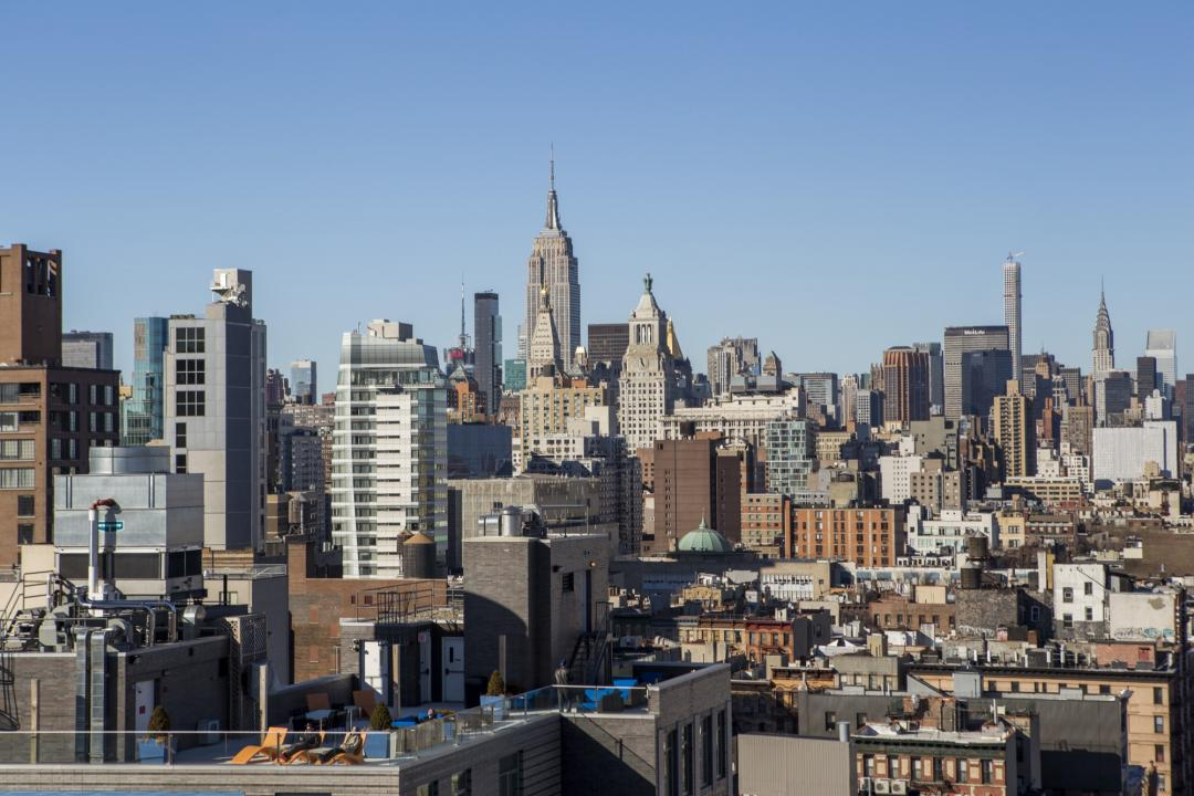 Open views from the Rooftop Deck at 229 Chrystie Street in Lower East Side