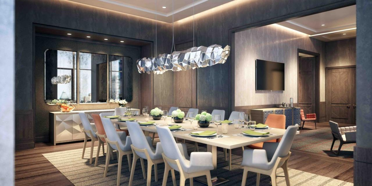 Dining room with catering pantry at EOS in Manhattan
