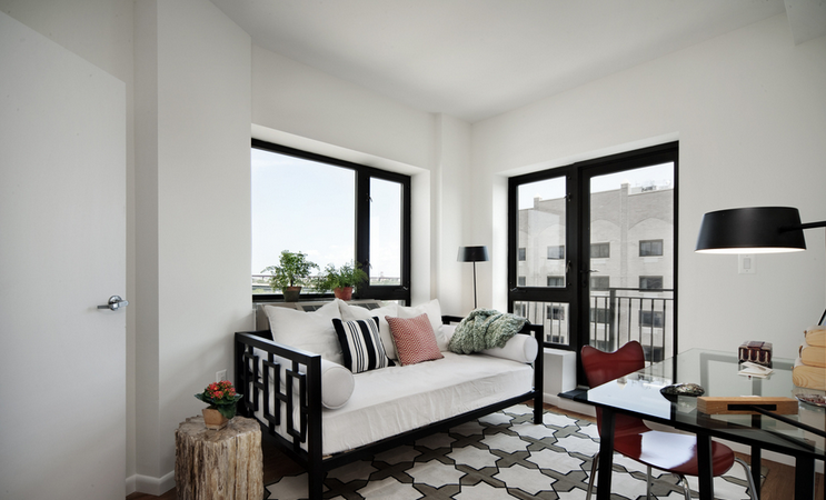 Living Room at Exo, Astoria Queens Rentals