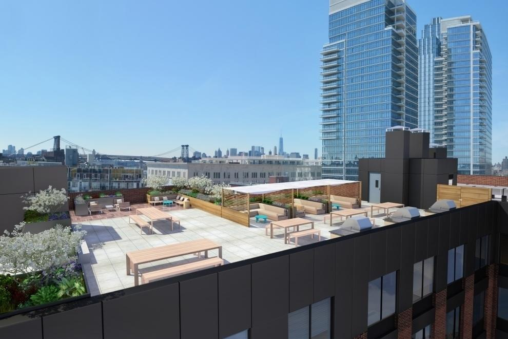 The Building's Rooftop Deck at Fifth & Wythe
