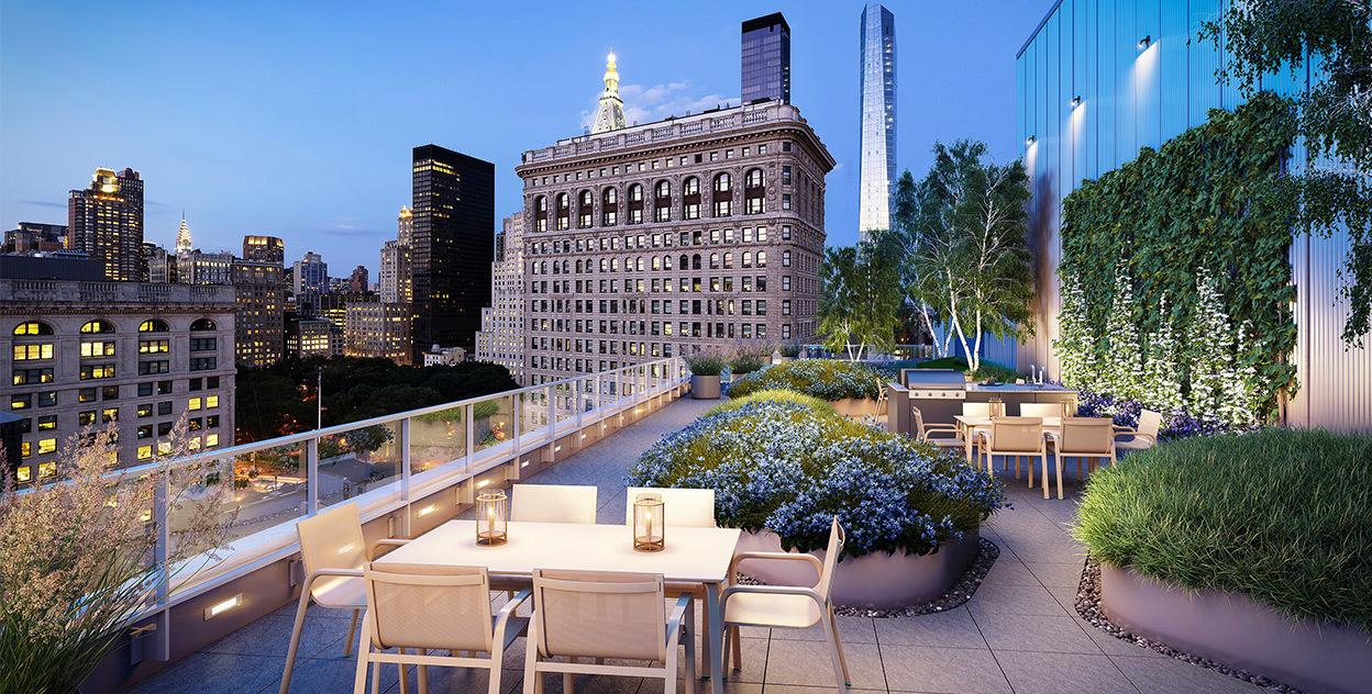 Landscaped Rooftop Terrace at 7 West 21st Street in Manhattan