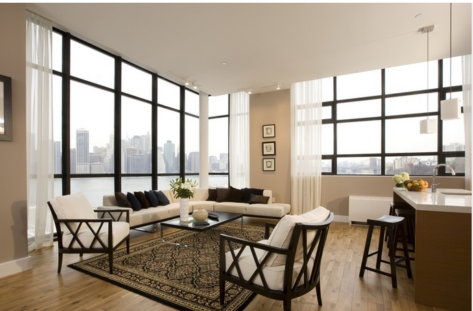 Living Room Area at 360 Furman Street- Brooklyn Heights Condos for Rent