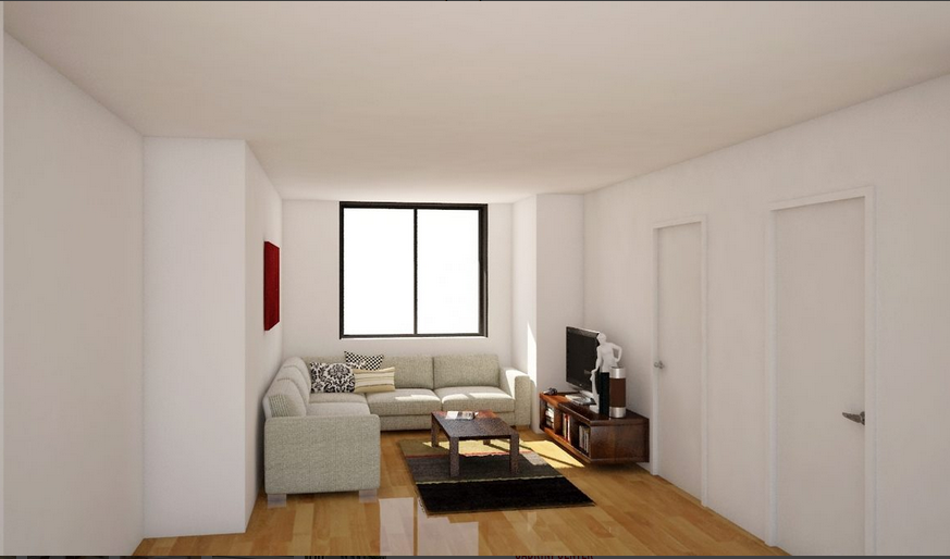 Living Room of Bloom 62 Apartment Building