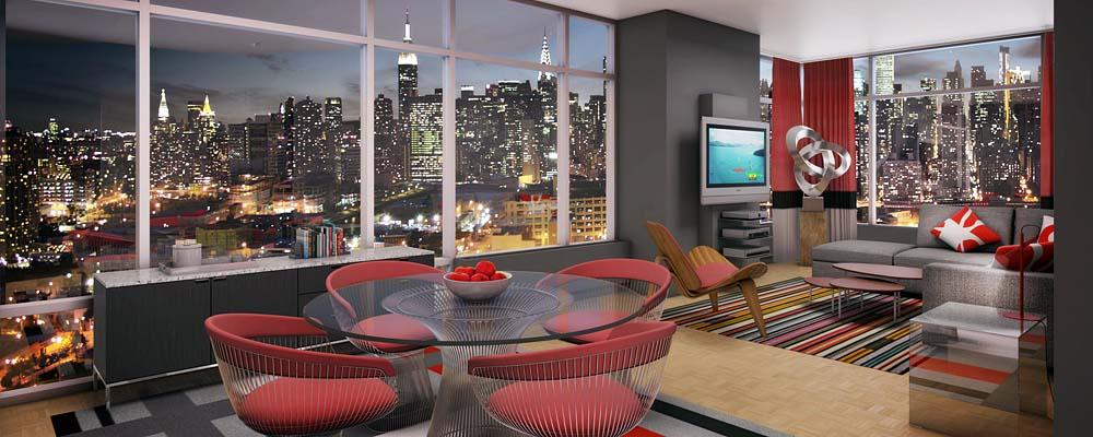 Living Room with View - Apartments for Rent - Linc LIC