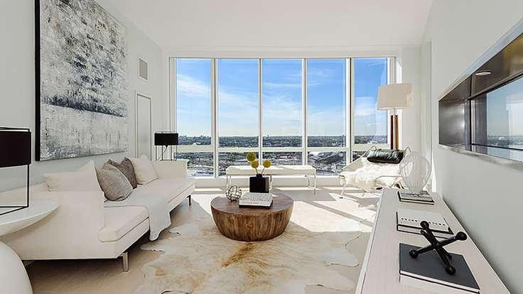 Living Room at 29-11 Queens Plaza North in NYC