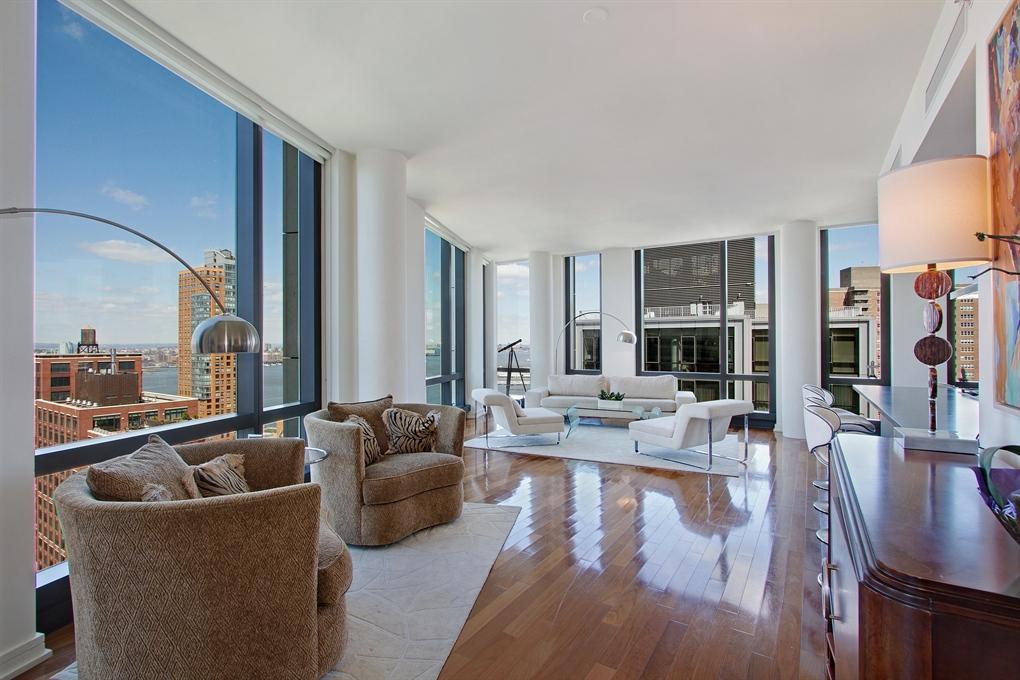 101 Warren Street Living Room - Manhattan Condos for Rent