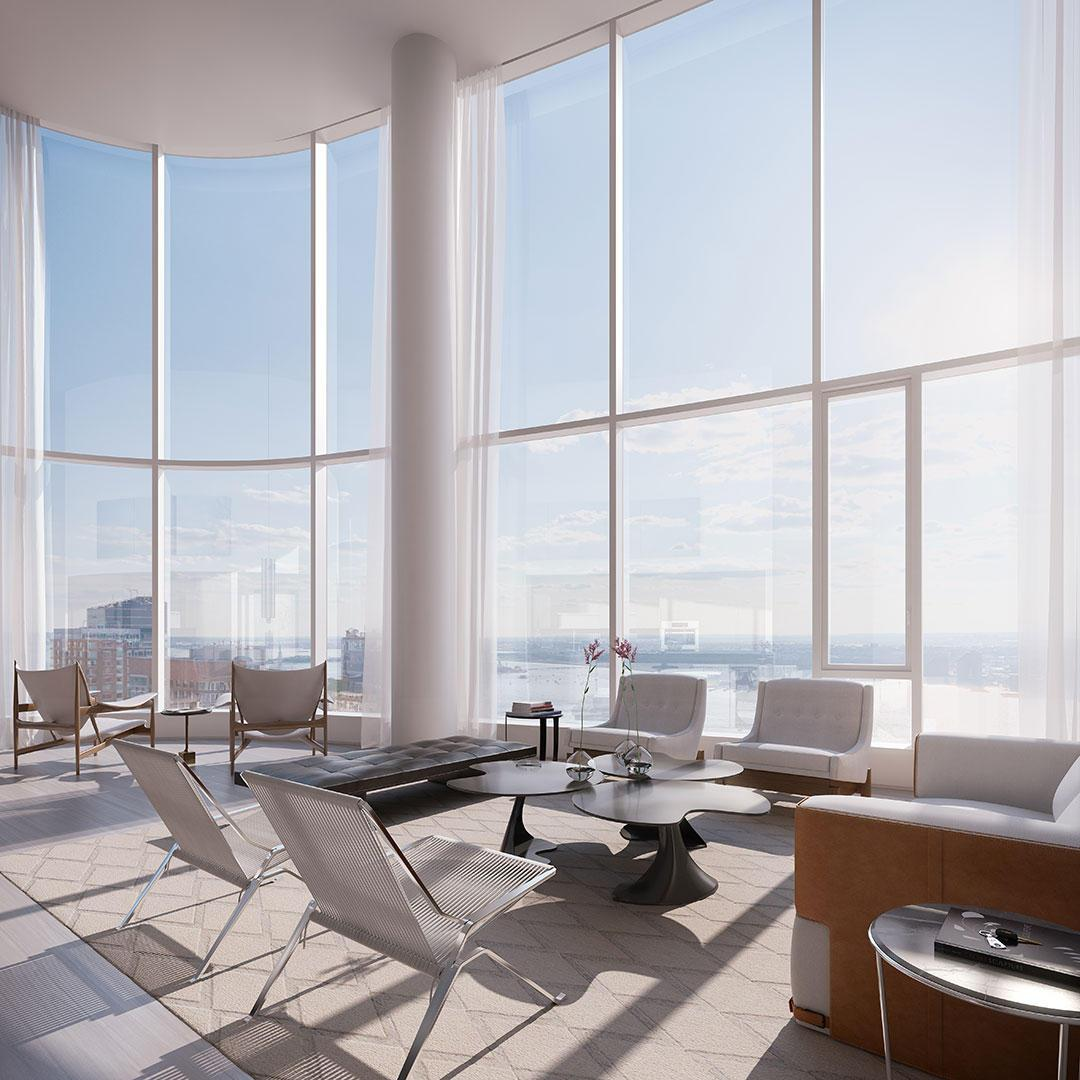 Livingroom at 50 Riverside Boulevard in Manhattan