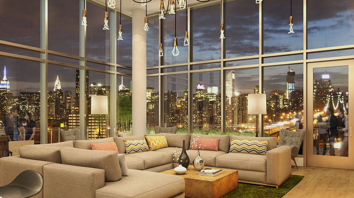 The Living room at 41-42 24th Street in New York