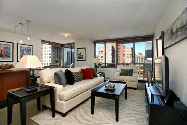 235 West 48th Street Living Room - Clinton Rental Apartments