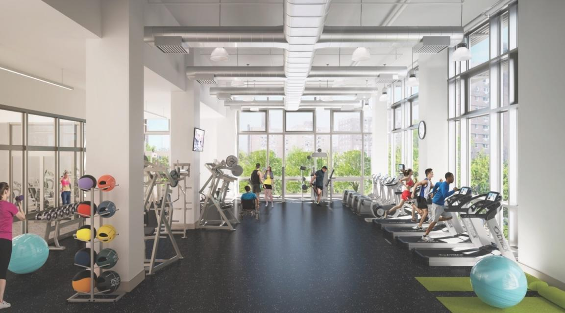 Wide variety of amenities at 81 Fleet Place in NYC - Fitness Center
