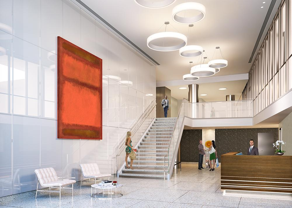 The Building's lobby at 81 Fleet Place in NYC