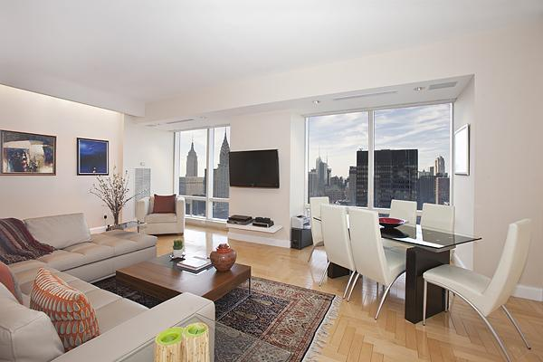 Living Room - The Trump World Tower Condos for Rent