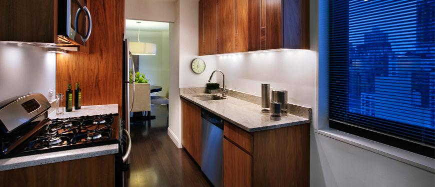 Kitchen of the Wimbledon Apartment Building in Manhattan